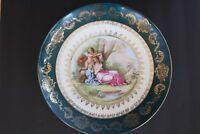 Antique Kaufman Austrian Plate Porcelain Gold Leaf Cupid Angels