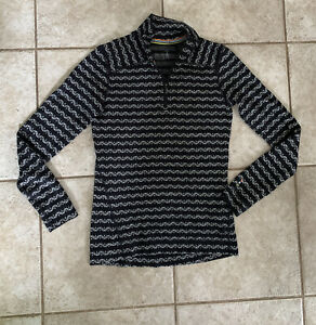 SmartWool black/white quarter zip sweater SIZE S Womens Pullover Hiking Layer