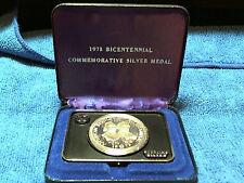 1973 US Bicentennial Silver (.925) Medal, Samuel Adams & Patrick Henry,w/ case