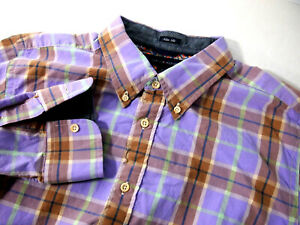 Tommy Hilfiger Mens Shirt L Slim Fit Purple Green Plaid Long Sleeve Button