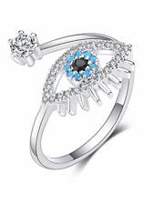 925 silver stunning eye evil blue dainty adjustable ring jewellery present gift