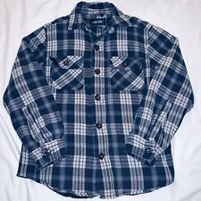 Insulated White Blue Plaid Lined Flannel Work Shirt Mens Small Quilted Cherokee