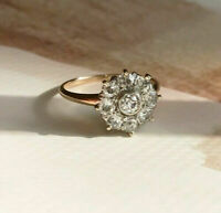0.50 Ct Round Cut Diamond 14K Yellow Gold Finish Cluster Engagement Wedding Ring