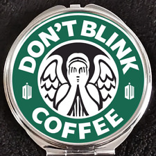 Doctor Who Don't Blink Angel Starbucks Logo Coffee Makeup Compact Double Mirror