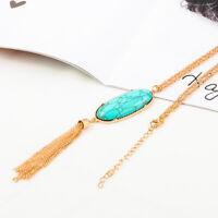 Women Boho Big Oval Abalone Druzy Stone Tassel Pendent Long Chain Necklace