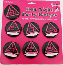 SET OF 7 HEN NIGHT BRIDE TO BE BADGES ACCESSORIES PERSONALISE YOUR HENS NAME