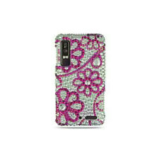 Verizon Motorola Droid 3 Crystal BLING Hard Case Snap Phone Cover Hot Pink Lace