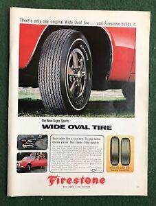 1960s magazine Ad car auto automobile FIRESTONE Tires Wide Oval mancave garage