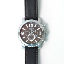 NEW-FOSSIL GAGE SILVER TONE,CHRONO. BLACK LEATHER BAND,BLACK DIAL WATCH BQ2053