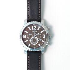 Fossil hombres Gage Bq2053 cuero negro reloj de cuarzo