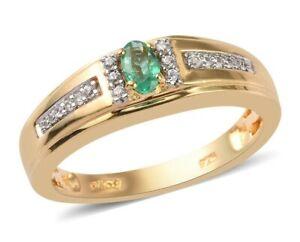 Natural Genuine AAA Kagem Zambian Emerald & Genuine Topaz  Men Engagement  Ring