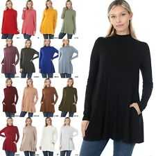 1X-2X-3X Zenana MOCK TURTLE NECK Relaxed Fit Long Sleeve Top w/ Side Pockets *US
