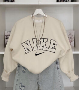 Vintage Nike 90's Embroidered Spell Out Sweatshirt In Cream / Beige in S M & L