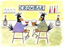 """Card: """"Crow At The CrowBar"""" #Pyjamas #PeterBrighouseIllustrator #corvid"""