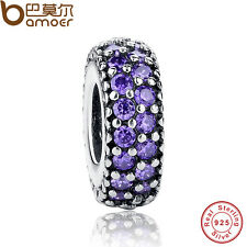 Shining Authentic S925 Sterling Silver Charms With Purple Cz For Bracelets Chain