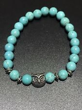 Blue Turquoise Beaded Jewellery Silver Owl Protection Meditation Bracelet