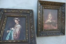 Vintage Two Wooden frame Wall hanging Hand carved pictures frames home decor
