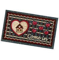 Zerbino gomma 40x70 antiscivolo tappeto asciugapassi casa cuoricini bordeaux