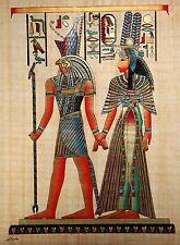 "Egyptian Papyrus  - Hand Made - 16"" x 24"" - God Horus & Queen Nefertari"