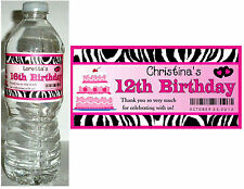 20 PINK ZEBRA BIRTHDAY PARTY FAVORS ~ WATER BOTTLE LABELS