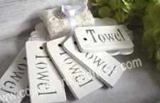 IB LAURSEN, 5 x Holzschild f. Handtücher    *TOWEL* ,Anhänger Tag,Shabby,Weiß