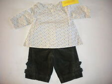 GYMBOREE NWT FUN IN THE SNOW OUTFIT SIZE 0-3 WOVEN TOP PANTS 2-PC SET $45