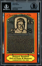 Mickey Mantle Autographed Signed HOF Plaque Postcard Yankees Beckett 11319182