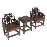 1/6 Dollhouse Miniature Wood Square Table Armchair Set Living Room Furniture