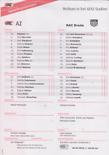 Opstellingen / Line-ups AZ Alkmaar v NAC Breda 18-03-2012