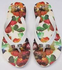 Coach Sandals Amel Rubber Painted Gingham Womens Size 5 Shoes (White and Floral)