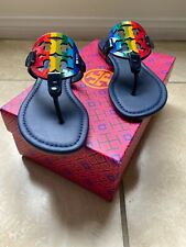 NIB Tory Burch Miller Sandals Printed Patent Leather Shoes Rainbow Navy 5.5