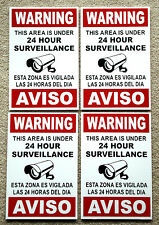 (4) Security Video Surveillance Warning  24 Hour  Signs  8x12 Spanish English