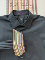 "Paul Smith Men's BLACK SHIRT 17.5"" Collar - Multicolour STRIPE under Cuffs £150+"