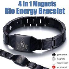 Bracelet Therapie Onde Magnetique 4 en 1 Homme Acier Bio-Aimant Soins Sante