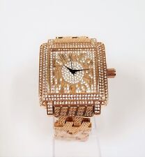 NEW TECHNOTREND ROSE GOLD,CRYSTALS,BLING DIAL,BRACELET BAND WATCH ET-1257