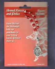 Armed Forces/Police Rosary Beads, Patron is St. Michael, Guardian Angel on Back