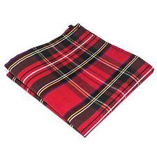 Mens Pocket Square Handkerchief Hanky Christmas Red Green Tartan
