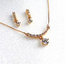 Women New 18K Yellow Gold Plated Cubic Zirconia CZ Stud Earrings Necklace Set UK