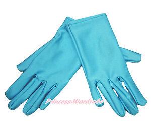 Snow Princess Elsa Light Blue Kids Girl Long Short Glove Cartoon Party Costume
