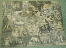 Antique Victorian Potichomania CHILDREN Collage Lithograph Engravings Fairy Tale