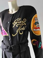 Vintage 80s Party Jumpsuit Black Wool w/ Patches Paris Hotel sz 8 M to L Retro