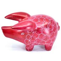 Tabaka Chigware Hand Carved Kisii Soapstone Red Pig Figure Made in Kenya
