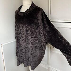 OSKA Dark Brown Crushed Velvet Top Thin Jumper Size 4 Velour Oversized Lagenlook