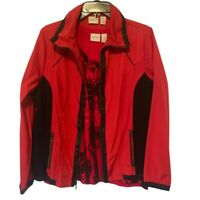 Zenergy By Chicos Womens Jacket And Blouse Red Stripe Pocket Zip Stretch Med/8