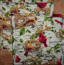 "T.T. ""Cardinals on the Nest"" Set of 2 (8"") Handmade-Quilted-Insulated-Hot Pads"