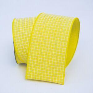 "Yellow White Gingham Designer Wire Edge Ribbon, 2 1/2"",  Summer Wreath, Spring"