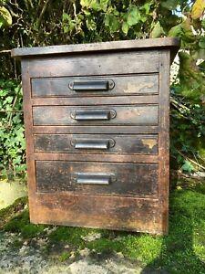 Antique Oak Cased Industrial Printers Cabinet , Great Original Patina ,