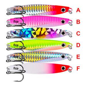 6pcs Metal Lead Jig Lures Slow Fishing Lures Jiggings Hooks 7-40g Fish Tackle