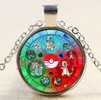 Pokemon Pokeball Stained Cabochon silver Glass Chain Pendant Necklace #2948