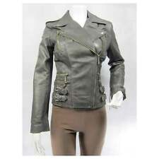 Ladies Grey Napa Leather Stud Zip Slim Tight Fitted Short Biker Jacket Bike